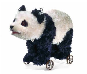 STEIFF Mohair Panda On Wheels