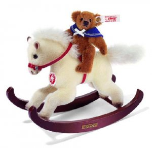 STEIFF Christmas Teddy With Rocking Horse 2007