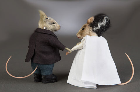 R. John Wright Matched Set of Frankenstein and Bride Mouse - Click Image to Close